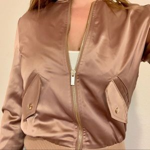 Dusty rose satin bomber jacket with gold accents